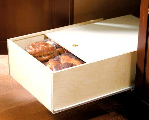 Pullout bread drawer slideout baked goods storage