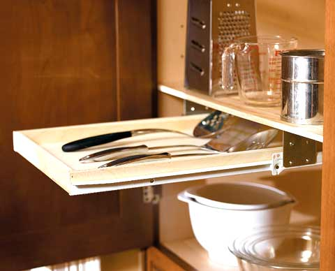 Pull out utensil shelves sliding shelf